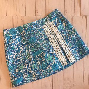 Lilly Pulitzer Blue Shell Skort size 4